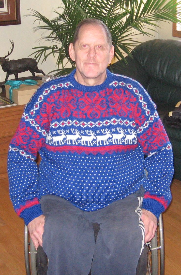 Client, Steve, in his Norwegian sweater that I made for him 2014.