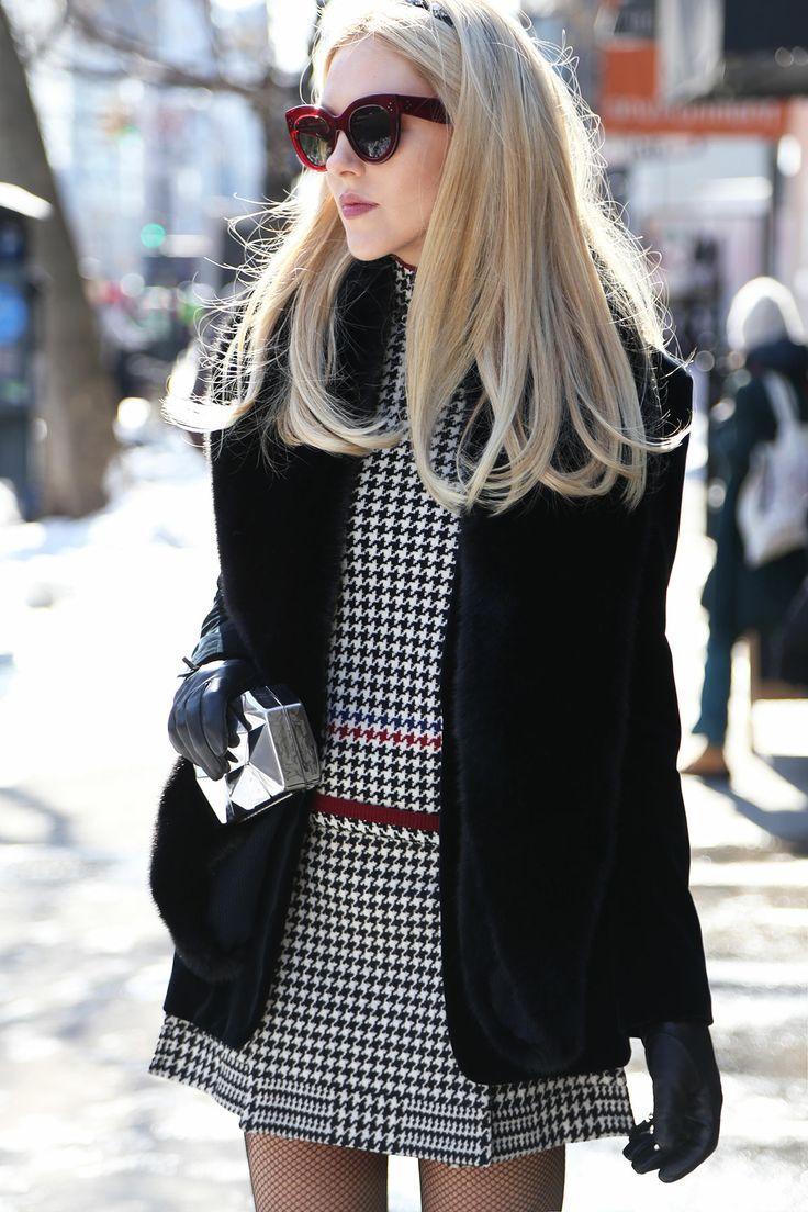 Céline sunglasses, black fur coat, houndstooth dress, leather gloves, metallic box clutch