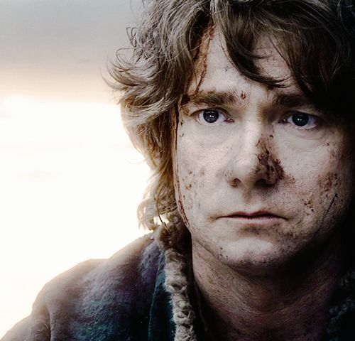 Bilbo's expression here is full of every emotion from happiness to blankness