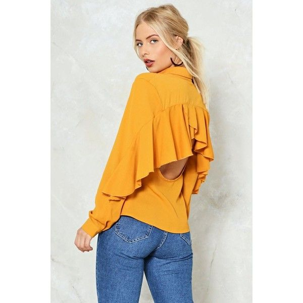 Nasty Gal I'll Be Back Ruffle Shirt ($50) ❤ liked on Polyvore featuring tops, blouses, mustard, yellow top, button front blouse, yellow blouse, mustard blouse and mustard shirt
