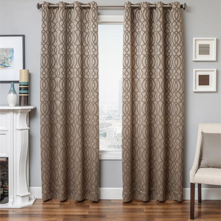 exhale drapery curtain panel in mocha latte taupebrown color with modern geometric tile pattern