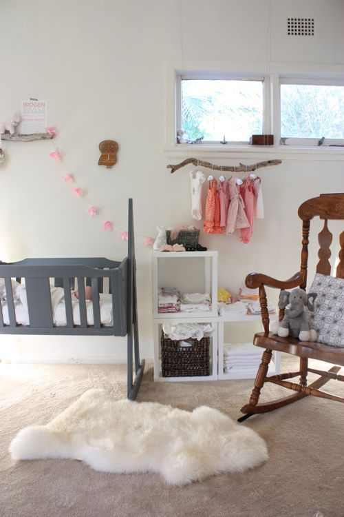 baby's space inside the master bedroom. too cute! love the cradle!