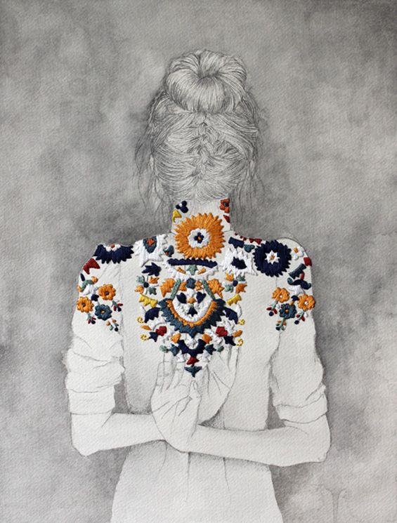 amazingly beautiful! Izziyana Suhaimi drawing and embroidery: Artists, Drawings, Inspiration, Izziyana Suhaimi, Mixed Media, It Was Not The Zzi Haimi, Embroidery, Fashion Illustrations, Design