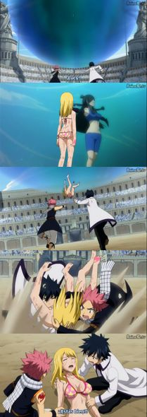 Fairy Tail, lucky #Lucy, #Natsu and #Gray ran to her rescue! *_*