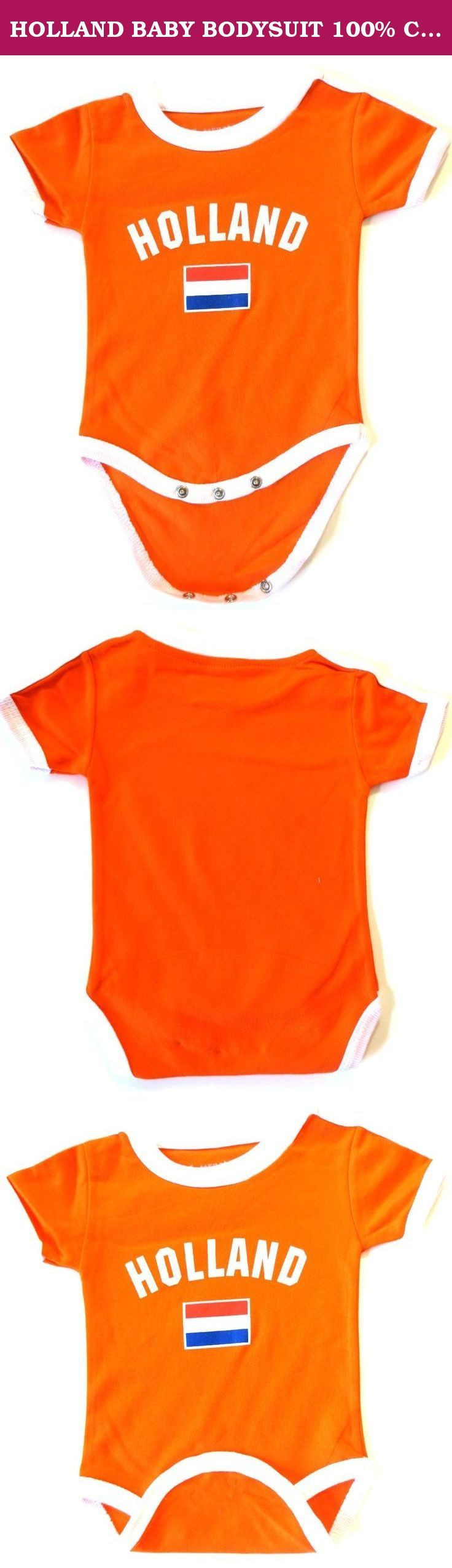 """HOLLAND BABY BODYSUIT 100% COTTON.NEW.FOR 18 MONTHS,NEW. HOLLAND BABY 100% COTTON.TODDLER . EXCELLENT QUALITY. BRAND NEW FOR 18 MONTHS: 10"""" CHEST X 15"""" LENGTH HOLLAND BABY BODYSUIT 100 % COTTON ONESIES ARE SHORT SLEEVE. PRE-SHRUNK MATERIAL NAME OF THE COUNTRY AND FLAG SCREEN PRINTED 3 SNAPS UNDERNEATH FOR EASY CHANGING FAST SHIPPING VIA USPS 2-4 WORKING DAYS ANYWHERE IN USA."""