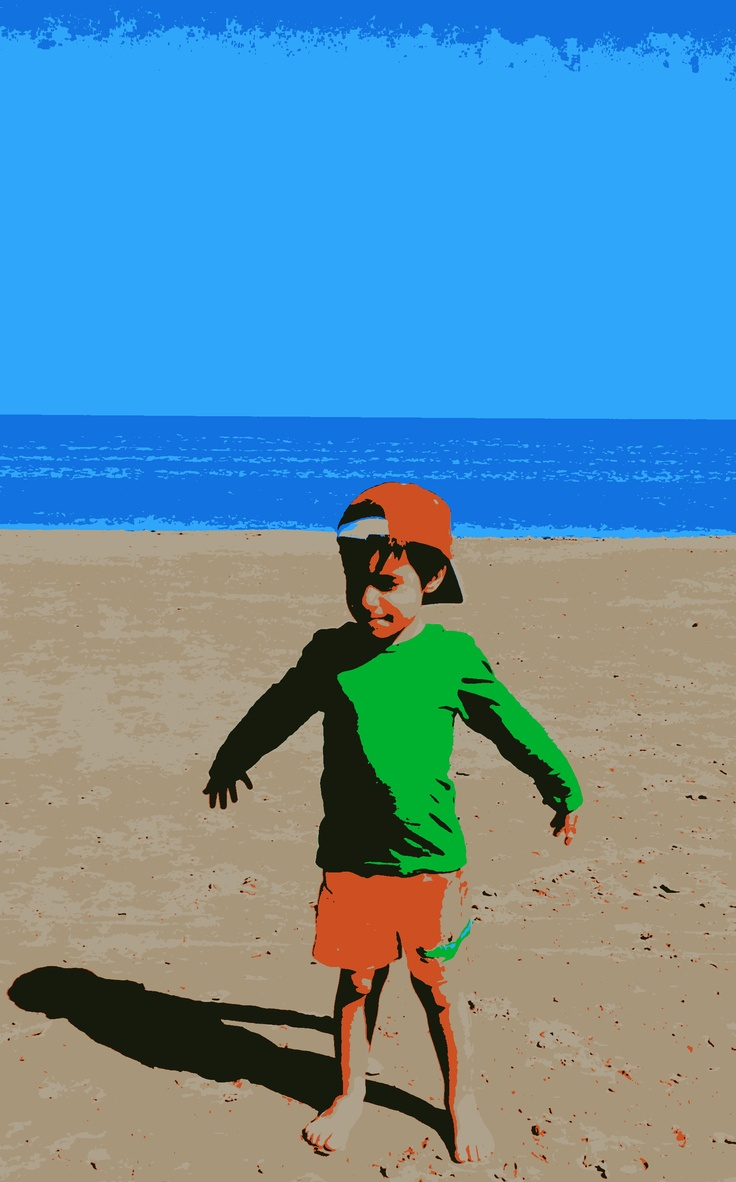 """Malvarrosa Beach, Valencia, 18th March 2012. Playing with the new features of Picasa: our son Alvaro """"posterised"""""""