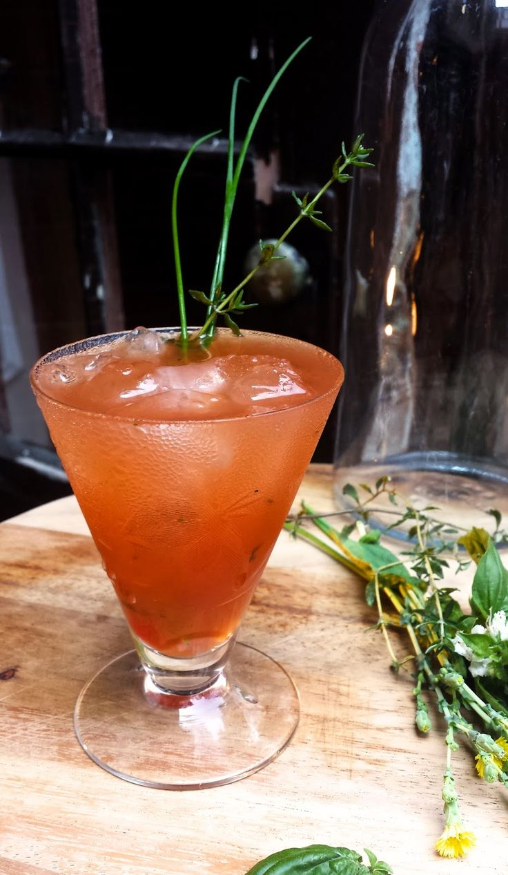 Beatrice Gin, vermouth, fresh tomatoes, fresh herbs  The Tipicular Times