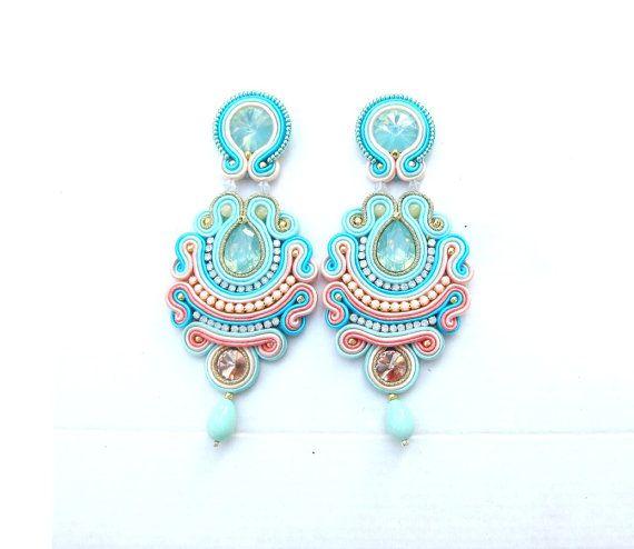 Soutache Earrings Long Clip On Earrings por GiSoutacheJewelry