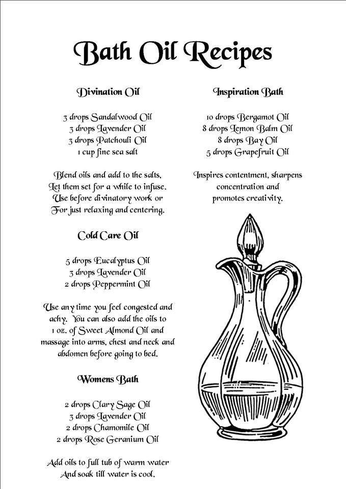 `Natural Homemade Spa Recipes Bath Oil Recipes