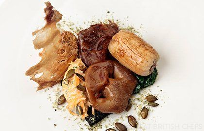 Braised pig's head with black pudding and pumpkin - Matt Gillan