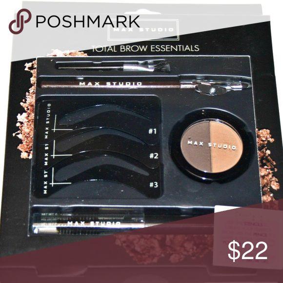 Max Studio Total Brow Essentials Set Set includes: Duo Brow Shadow, Brow Pencil, Brow Gel, Brow Stencils, Brow Brush.                                      Comes with Original Unopened box  (Duo Brow Shadow - 0.11 oz)  (Brow Pencil - 0.05 oz)  (Brow Gel - 0.09 oz) Max Studio Makeup Eyebrow Filler