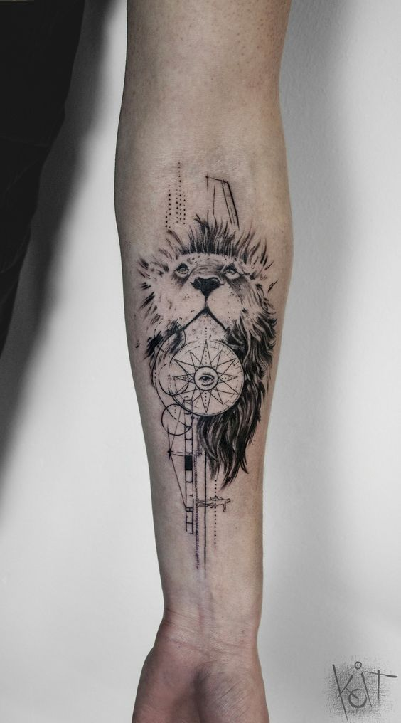 By Koit, Berlin. Forearm black tattoo - lion, compass and Illuminati. | Graphic style tattoo | Inked arm | Tattoo ideas | KOit Tattoo | Tattoo artist | Germany tattoo artists | Animal tattoo | Compass tattoo | tattoos for guys | Inspiration | Black tattoo | Graphic design | Illustration | Art | Body art | Tatouage | Tätowierung | Tatuaggio | Tatuaż | Tatuaje