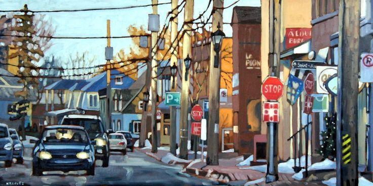 "Pointe-Claire Village Oil on canvas 36"" x 18"" by David Kelavey"