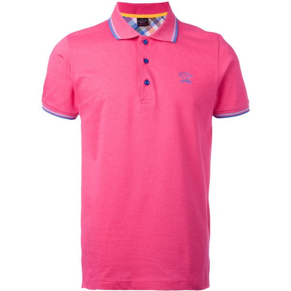 Paul & Shark logo embroidered polo shirt ($144) ❤ liked on Polyvore featuring men's fashion, men's clothing, men's shirts, men's polos, pink, mens polo shirts, mens pink shirts, mens cotton shirts, mens pink polo shirt and men's cotton polo shirts