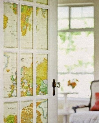 World map French doors for library entrance.