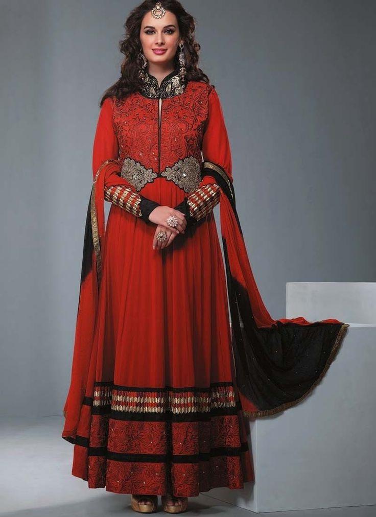 Maroon Georgette Long Length Anarkalai Salwar Kameez, for any grand ocassion.