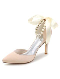 Chaussures de mariage Ivoire a souligné Toe ruban perle cheville Strap Slip sur haut talon chaussures de mariée