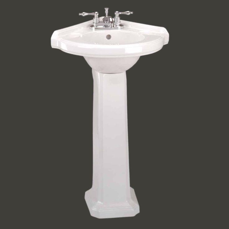 Corner Sinks White Vitreous China, Portsmouth Corner Pedestal Sink White 32 3/4in. H - Corner Bathroom Sinks - Amazon.com