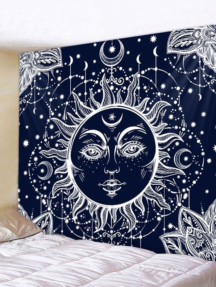 Sun Moon Print Tapestry Wall Art Hanging Decoration Moon Tapestry Sun And Moon Tapestry Tapestry Wall Art