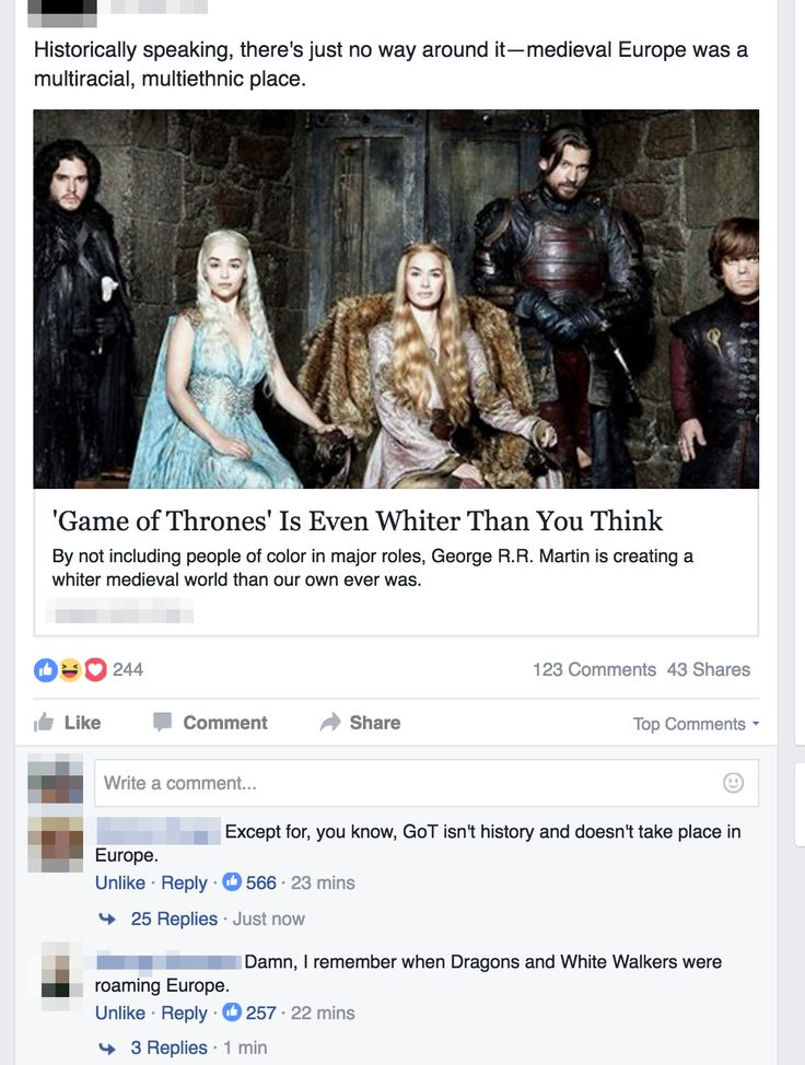 So, now Game of Thrones is too white. SMH.