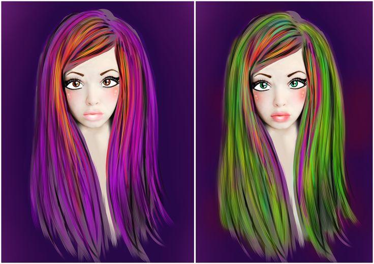 разноцветные волосы, радуга, зеленые волосы, сиреневые волосы, цветные прядки волос