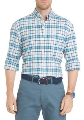 Izod Men's Oxford Plaid Button Down Shirt - Blue - Xl