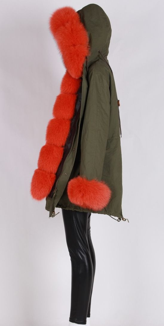 Gorgeous fur army green parka coat. Can customize. #luxuryparka #slayaccessories #furparka #orangefur #longparka #parka #coat #luxury #coat #greenparka #furcollar