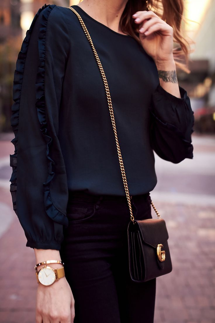 Fall Outfit, Club Monaco Ruffle Sleeve Top