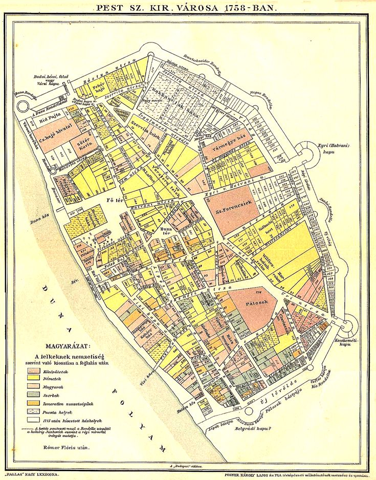 the buildings and population of Pest in 1758. Pest was home to sizable German and Serbian communities, the Hungarian-speaking population was a minority