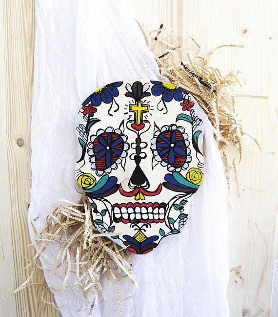 Sugar Skull decor Day of the dead art Wood sugar skull Hand