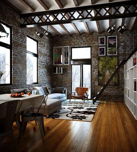 Un loft que nos recuerda a esas naves industriales de Nueva York, donde algunos artistas hacían de estos lugares su espacio de trabajo y vivienda