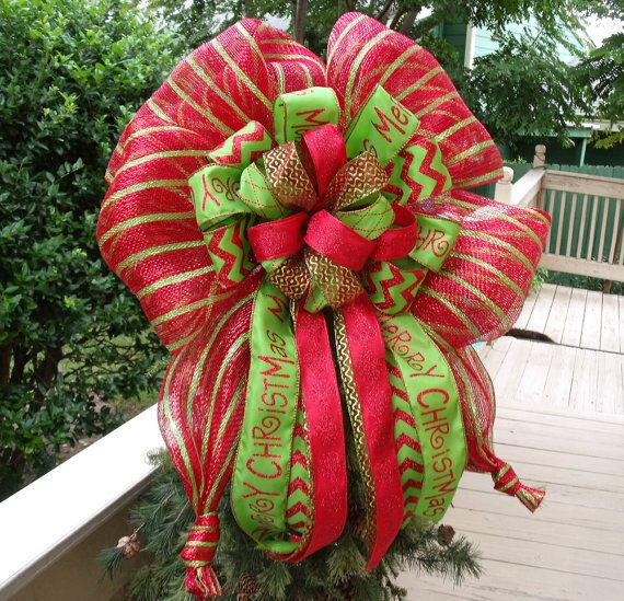 Christmas Tree Bows Decorations: Large Christmas Bow Topper, Red And Lime Christmas Tree