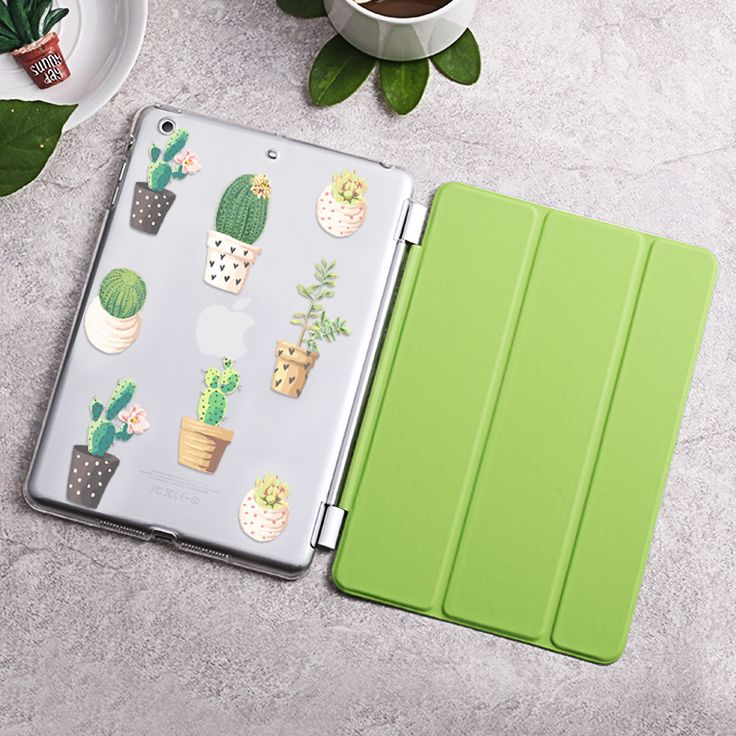 Case for iPad 2 3 4, Cactus series Tri-fold smart cover Ultra Slim PU Leather Back Case for iPad 2 3 4