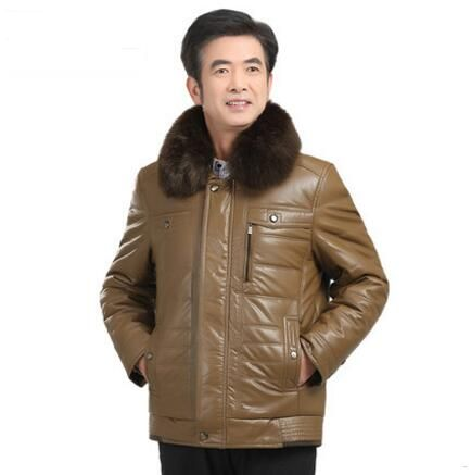 Free shipping !!! 2017 More middle-aged and old cotton-padded clothes qiu dong men PU leather coat quilted jacket dad / L-4XL