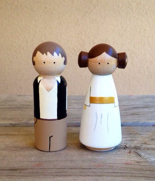 KrisTeenyTinys Hans solo and Princess Leia LARGE peg doll cake topper