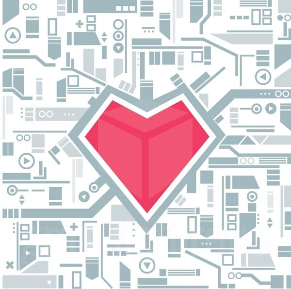 Tech Heart Flat Design Illustration