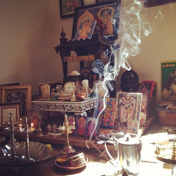my aunt's god room blazing with god smoke: Aunt God