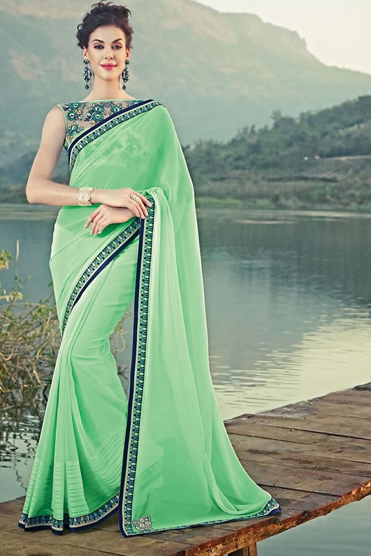 Green Color Designer Party Wear Saree From Easysarees.