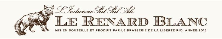 """Le Renard Blanc, Patrik Reuterskiöld, Stockholm 2013–2015. """"Varje bryggning får ett nytt namn, de alla är olika färger på rävar. Från den Gyllene räven (Le Renard D'Or), Silverräven (le renard argenté), den oranga räven (Le Renard l'orange). Den bruna räven (Le Renard Brun) var den första av fem. Etiketten är gjord som en gördel pga att jag ville göra något speciellare form av etikett. En så enkel etikett som möjligt men med egen karaktär."""""""
