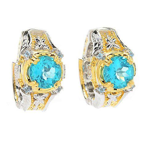 161-745 - Gems en Vogue 4.20ctw Paraiba Color & Swiss Blue Topaz Hoop Earrings