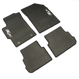 Cruze Z-Spec Floor Mats, Front/Rear Carpet Black: These Front and Rear Carpet Replacement Floor Mats mimic the shape of your Cruze to provide superior fit and protection. Front Set with Z-Spec Logo.