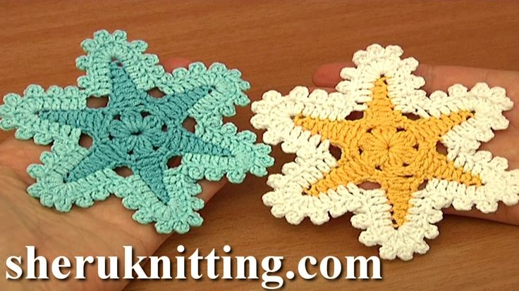 In this crochet video tutorial you can see crochet flat star flower, crochet sea star, easy to crochet flowers, 6-petal flower, crochet patterns, crochet flo...