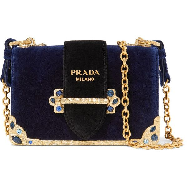 Prada Cahier crystal-embellished velvet shoulder bag (31.222.605 IDR) ❤ liked on Polyvore featuring bags, handbags, shoulder bags, prada, navy, jewel purse, chain strap purse, chain-strap handbags, prada purses and navy handbags