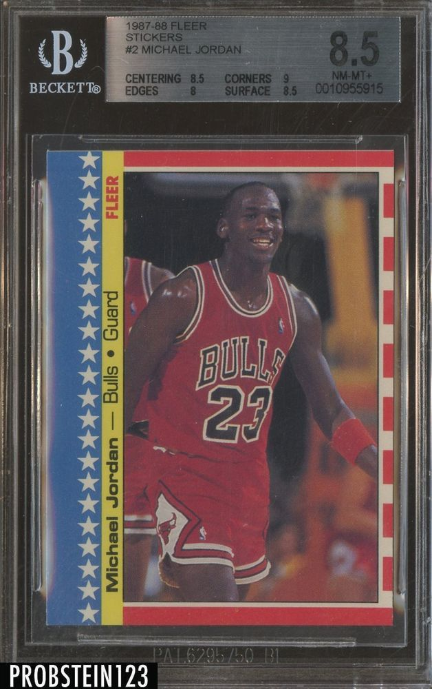 Michael Jordan 1987 88 Fleer Basketball 2 Sticker Bgs 85