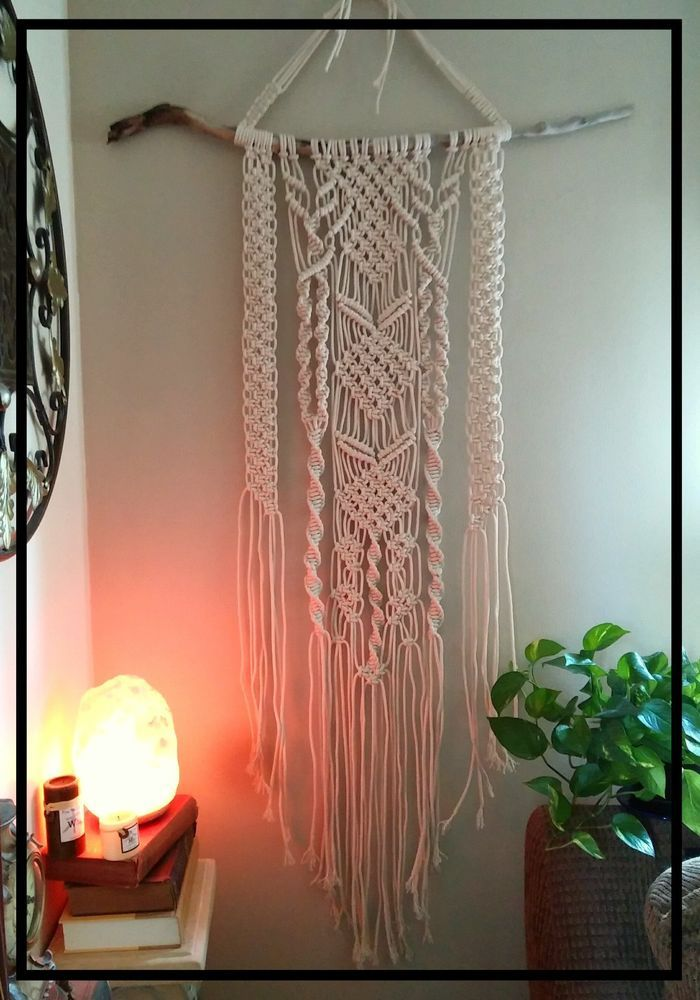 This large macrame wall hanging was hand knotted with love on a piece of driftwood branch found in nearby woods. It will hang from a piece of driftwood that is similar in size to the one pictured. | eBay!