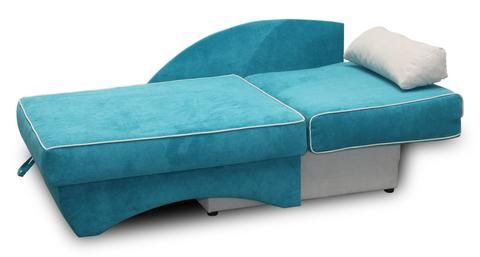 Fabric Sofabed in blue transferable into chaise lounge, quality product