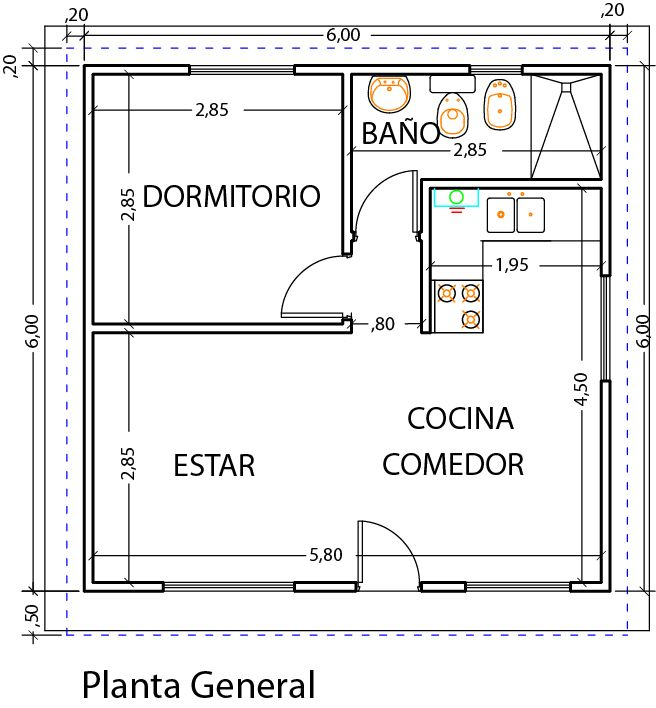 M s de 25 ideas incre bles sobre planos de casas peque as for Diseno de apartamento de una habitacion