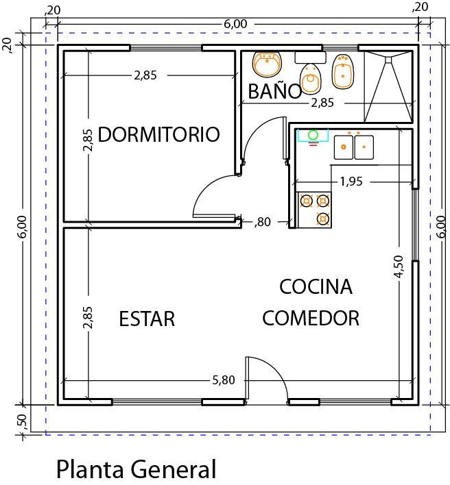 Dise o y planos vivienda 1 dormitorio 39m2 viviendas for Planos de departamentos de una habitacion