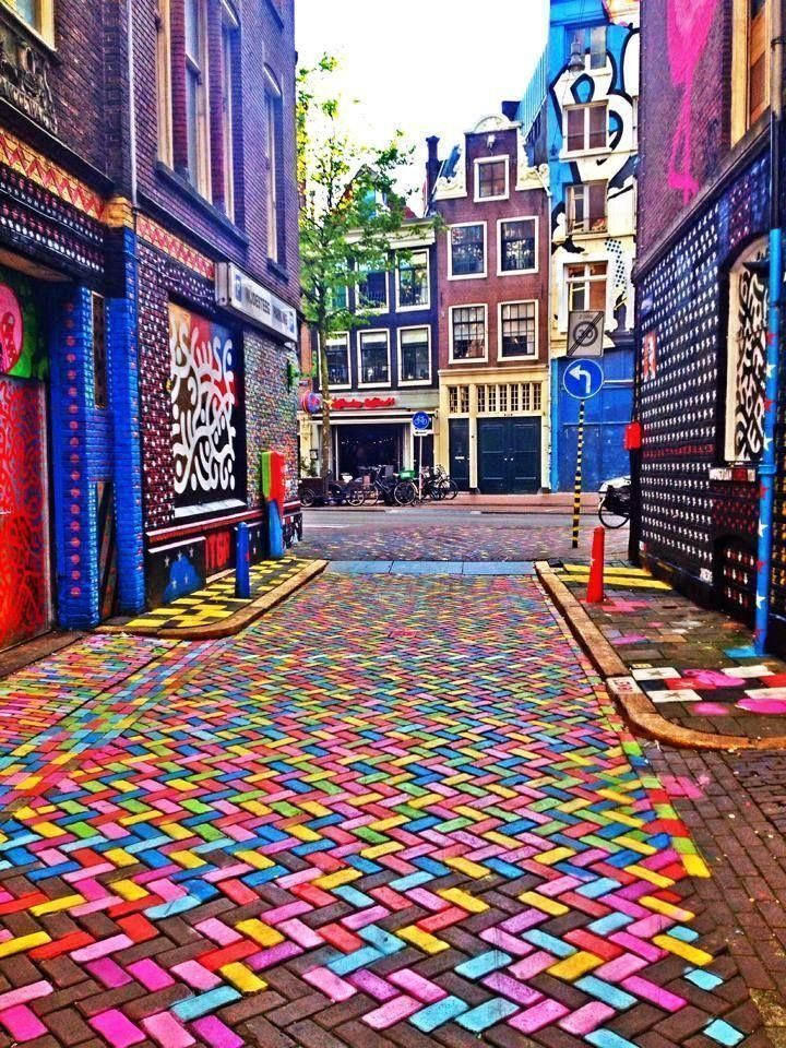 A colorful street in Amsterdam.