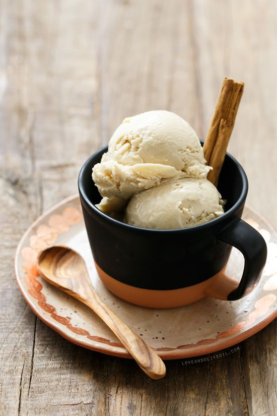 Homemade Horchata Ice Cream, almond and rice-based with a touch of spicy cinnamon.